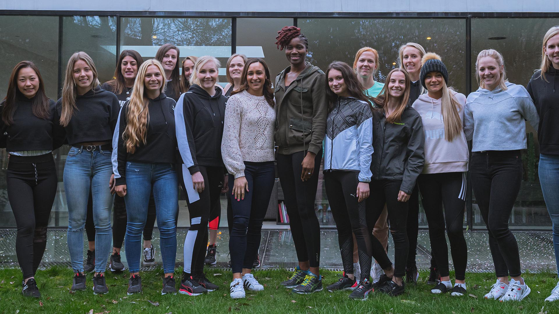 Group photograph of W Series workshop participants with Jessica Ennis-Hill