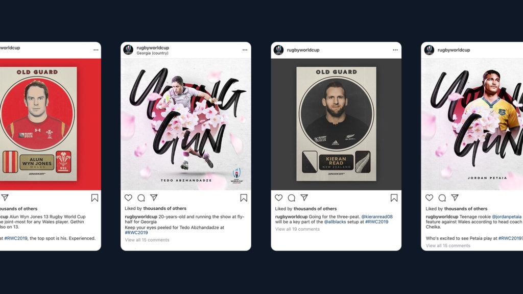 Old Guard and Young Gun creative posts on Rugby World Cup Instagram account
