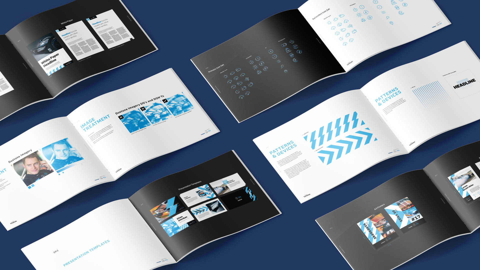 Vestas brand guidelines laid out with multiple pages on display