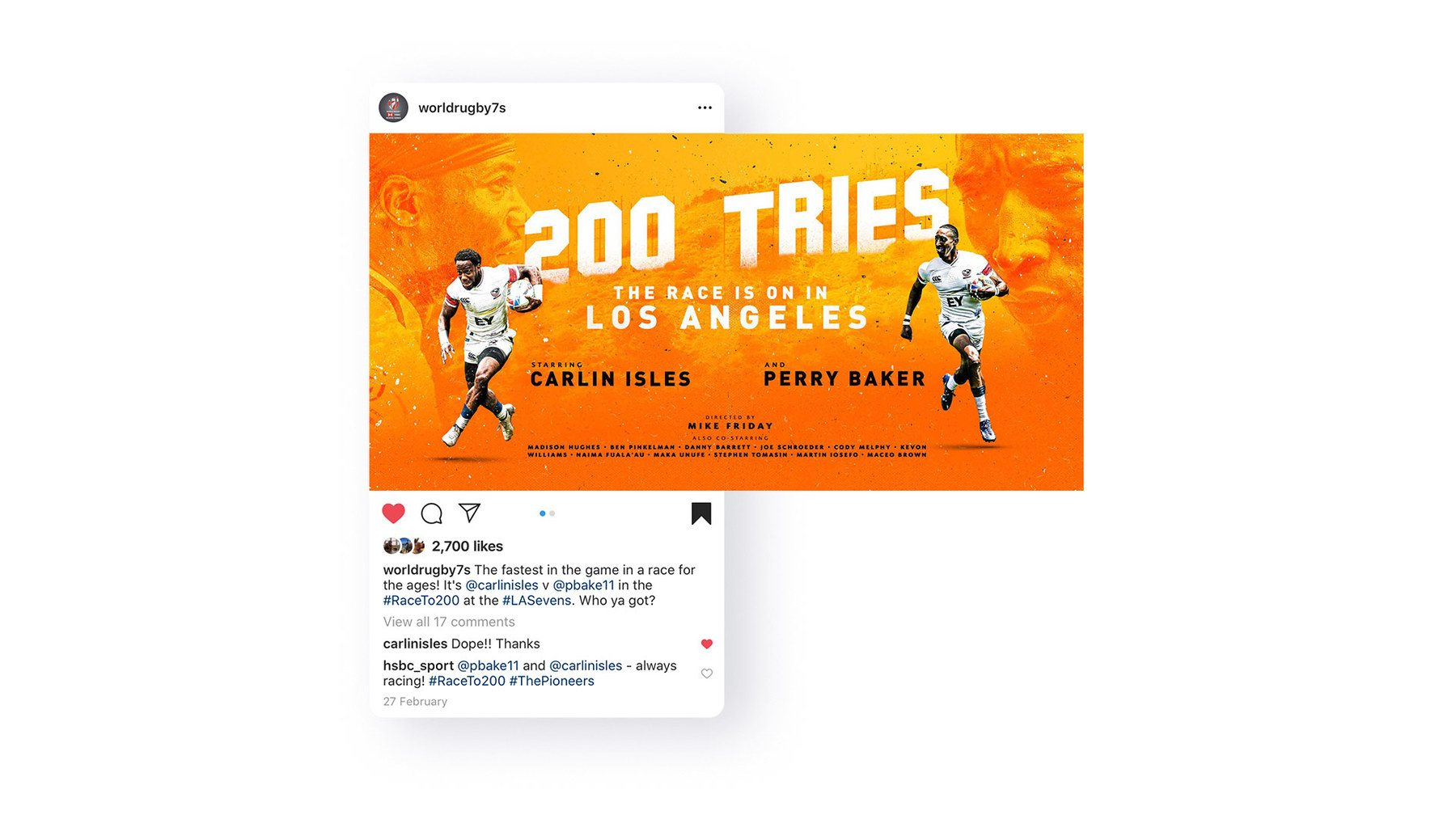 HSBC Sevens Series creative for American players racing to get 200 Tries in Los Angeles