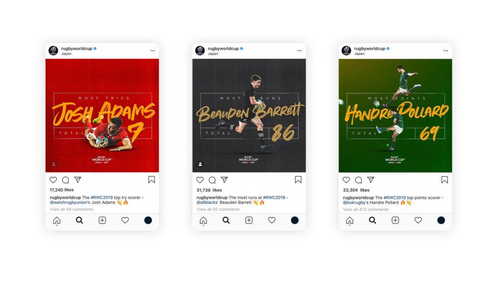 Creative post-tournament stat graphics on Instagram for Rugby World Cup 2019