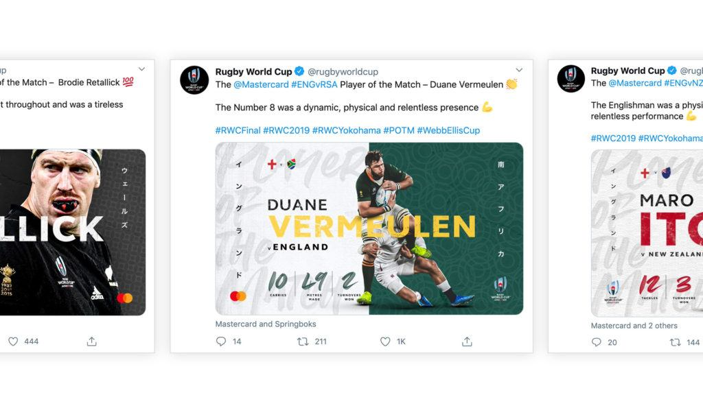 Rugby World Cup creative Twitter posts