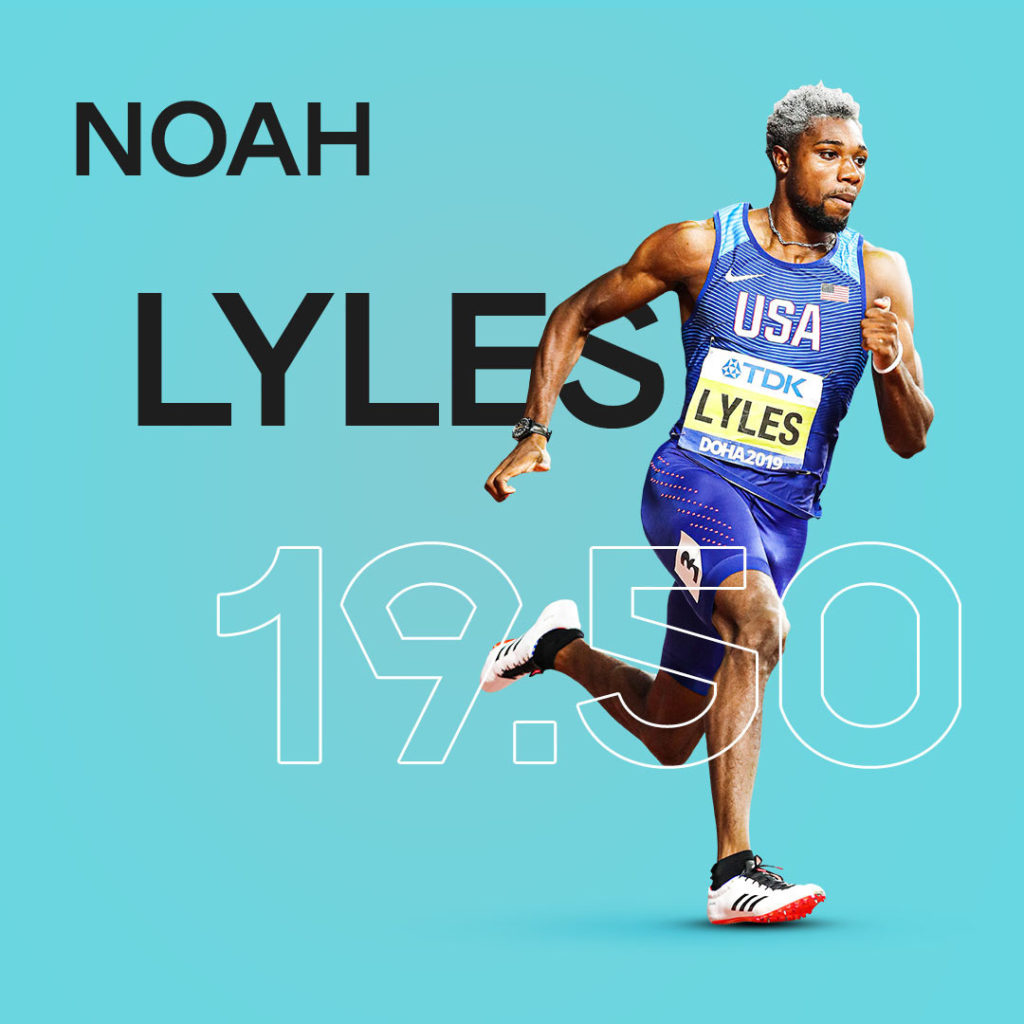 World Athletics creative for a Noah Lyles Statistic