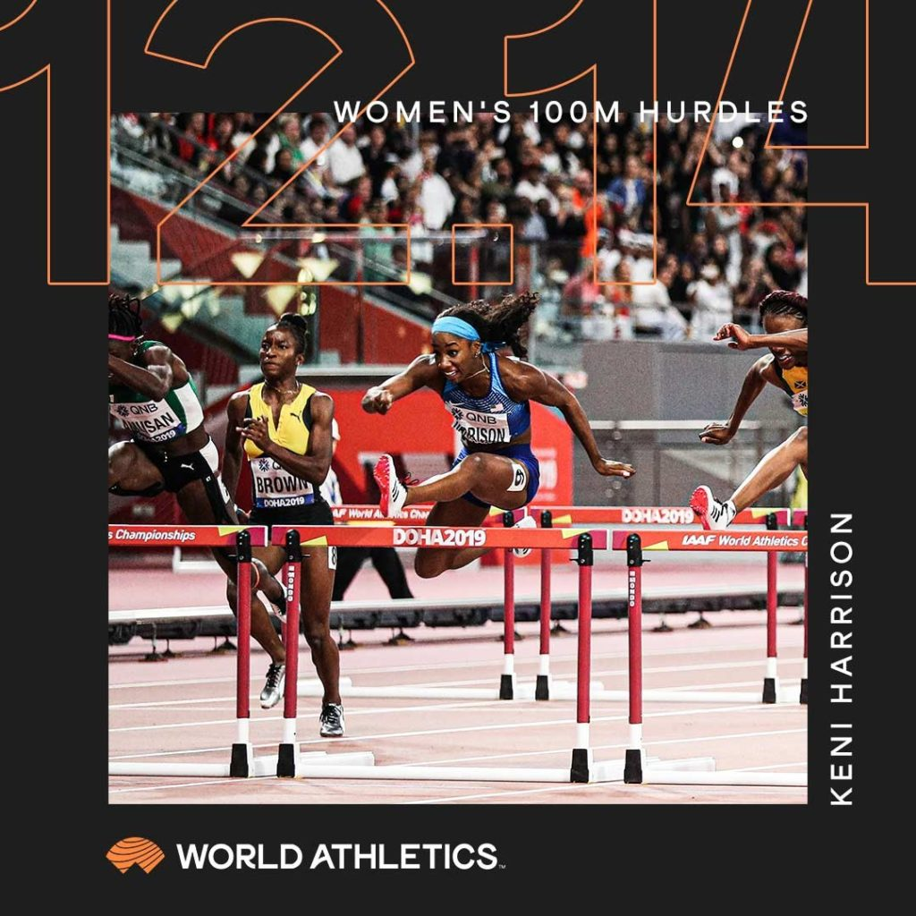 World Athletics creative for a Women's 100 metre statistic