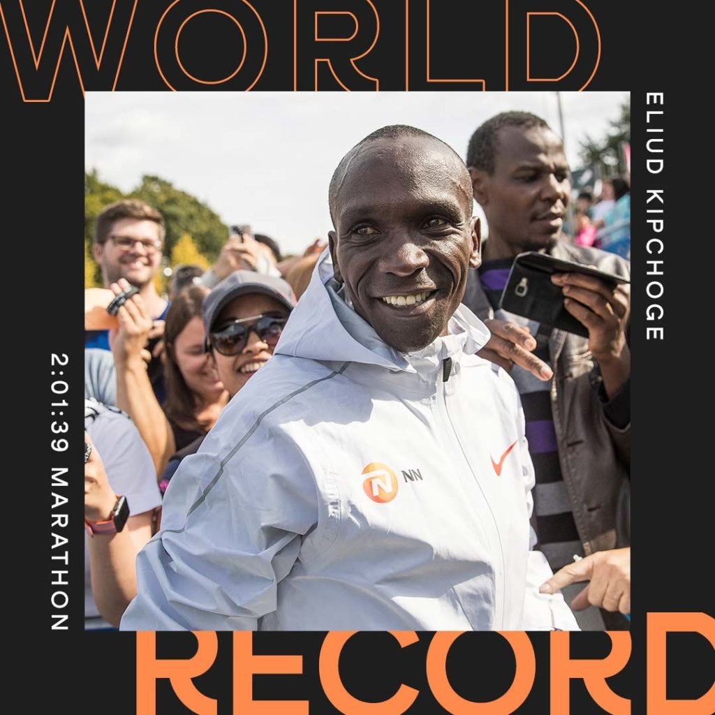 World Athletics creative for Eliud Kipchoge World Record template