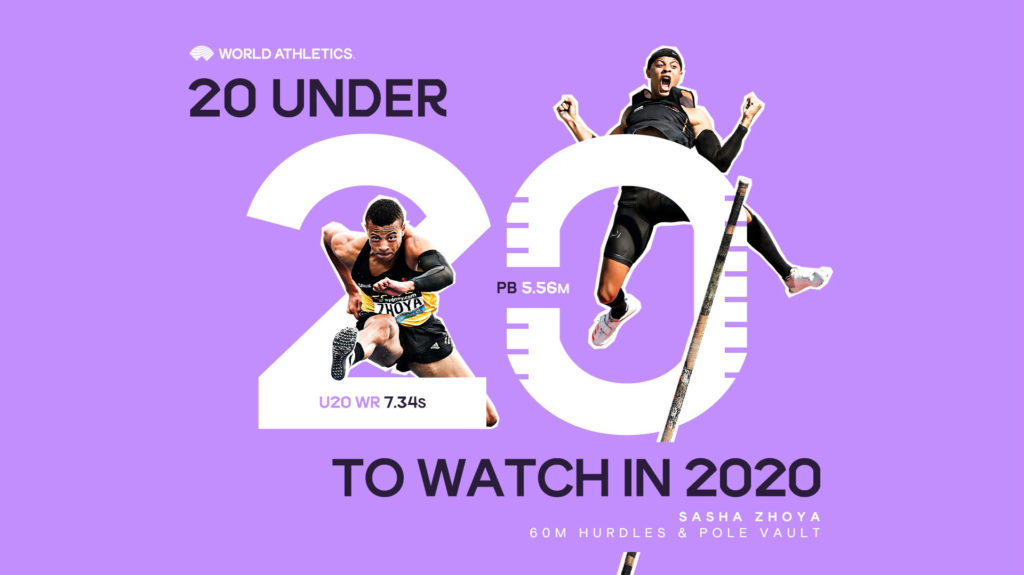 World Athletics creative for 20 Under 20 campaign featuring Sasha Zhoya
