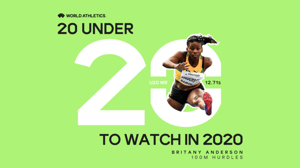 World Athletics creative for 20 Under 20 campaign featuring Britany Anderson