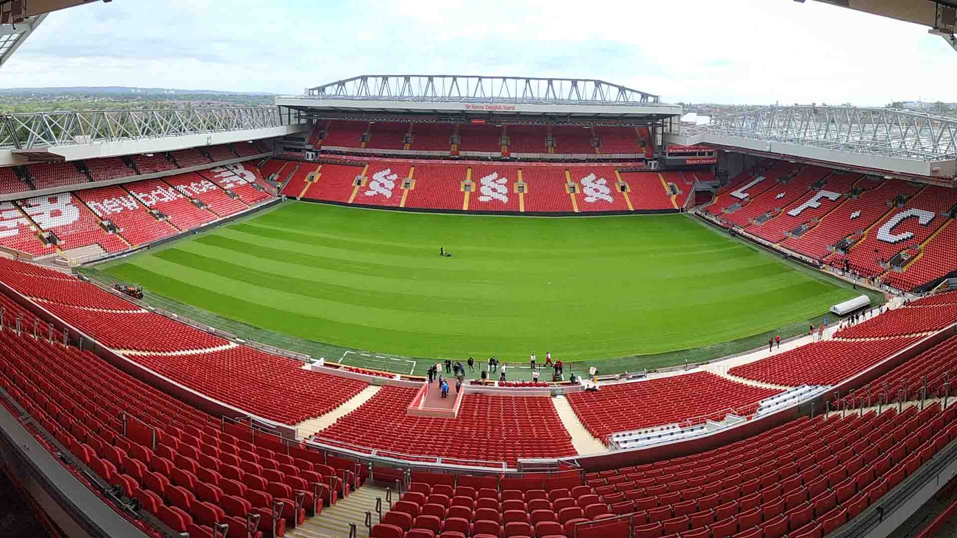 An empty Anfield Stadium