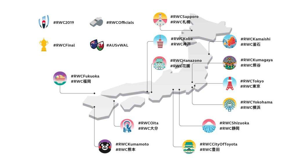 Rugby World Cup Emoji Pack laid out on map of Japan