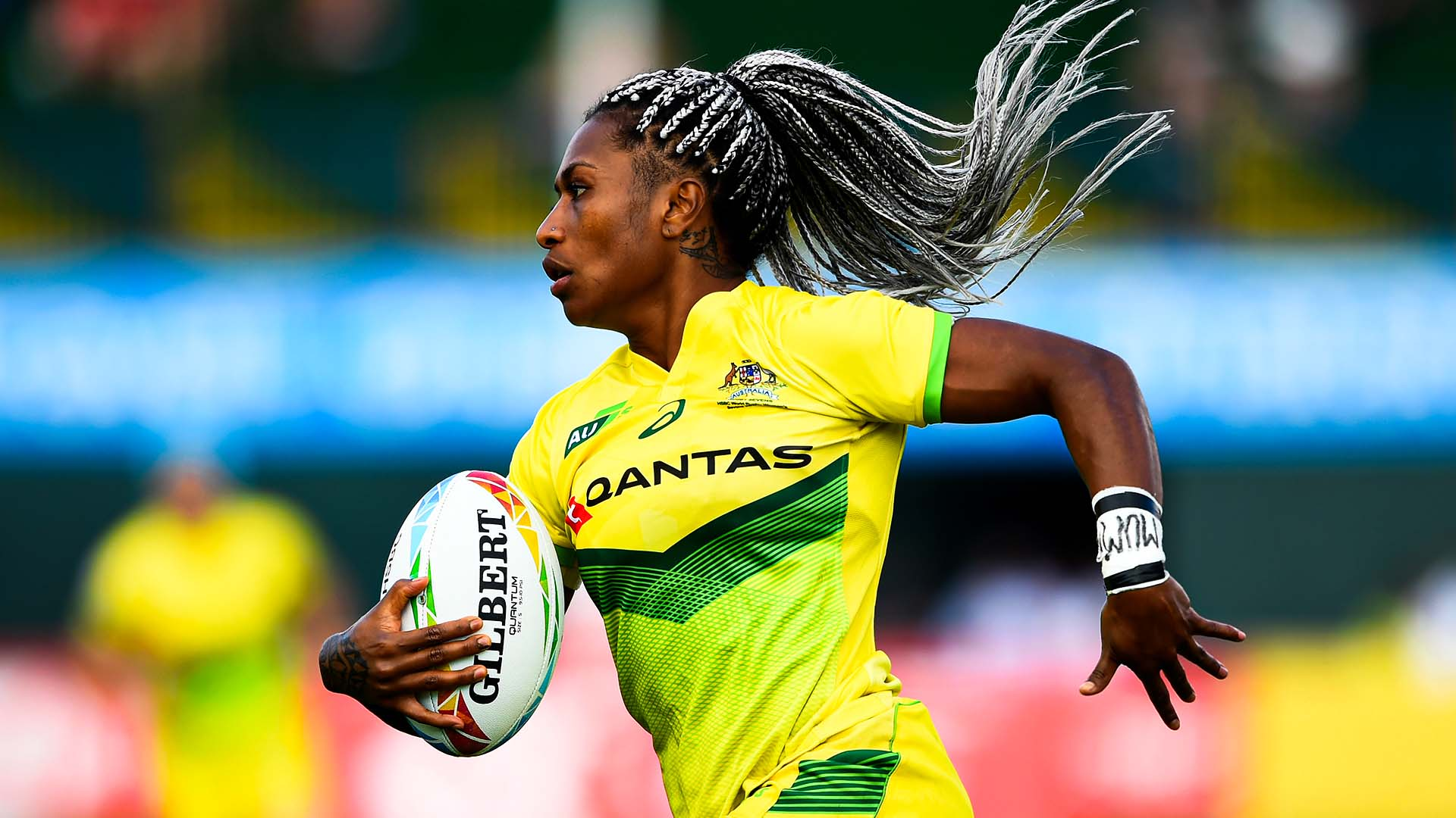 Australian HSBC Rugby Sevens playing running with the ball