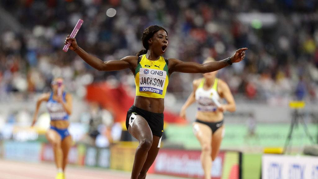 Shericka Jackson in the Women's 4x100 Metres Relay final
