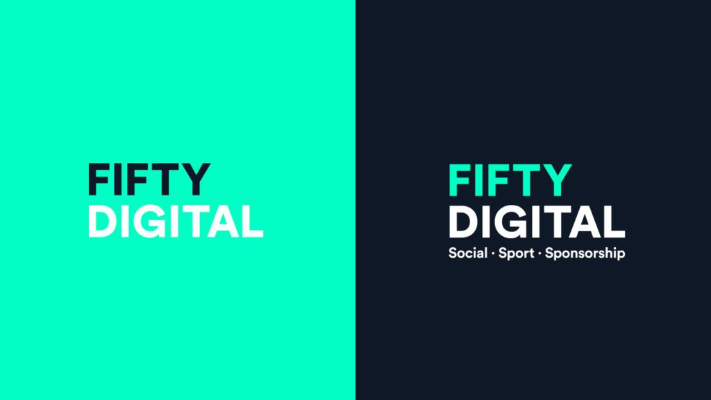 Fifty Digital logos on brand colours