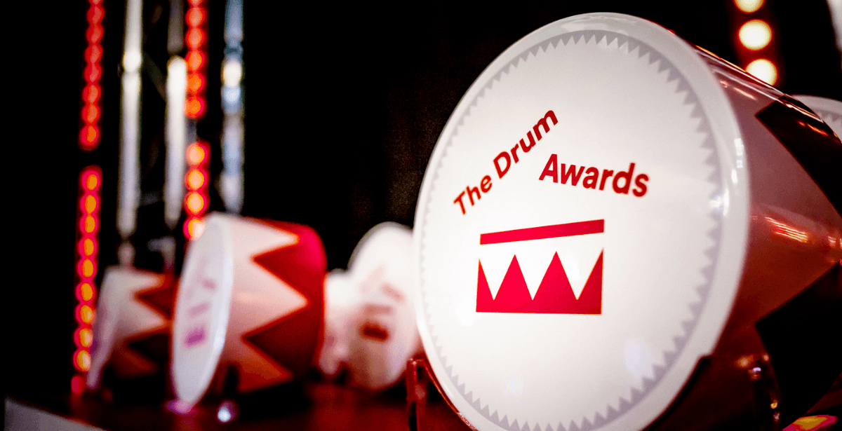 Drum Awards trophies lined up on table