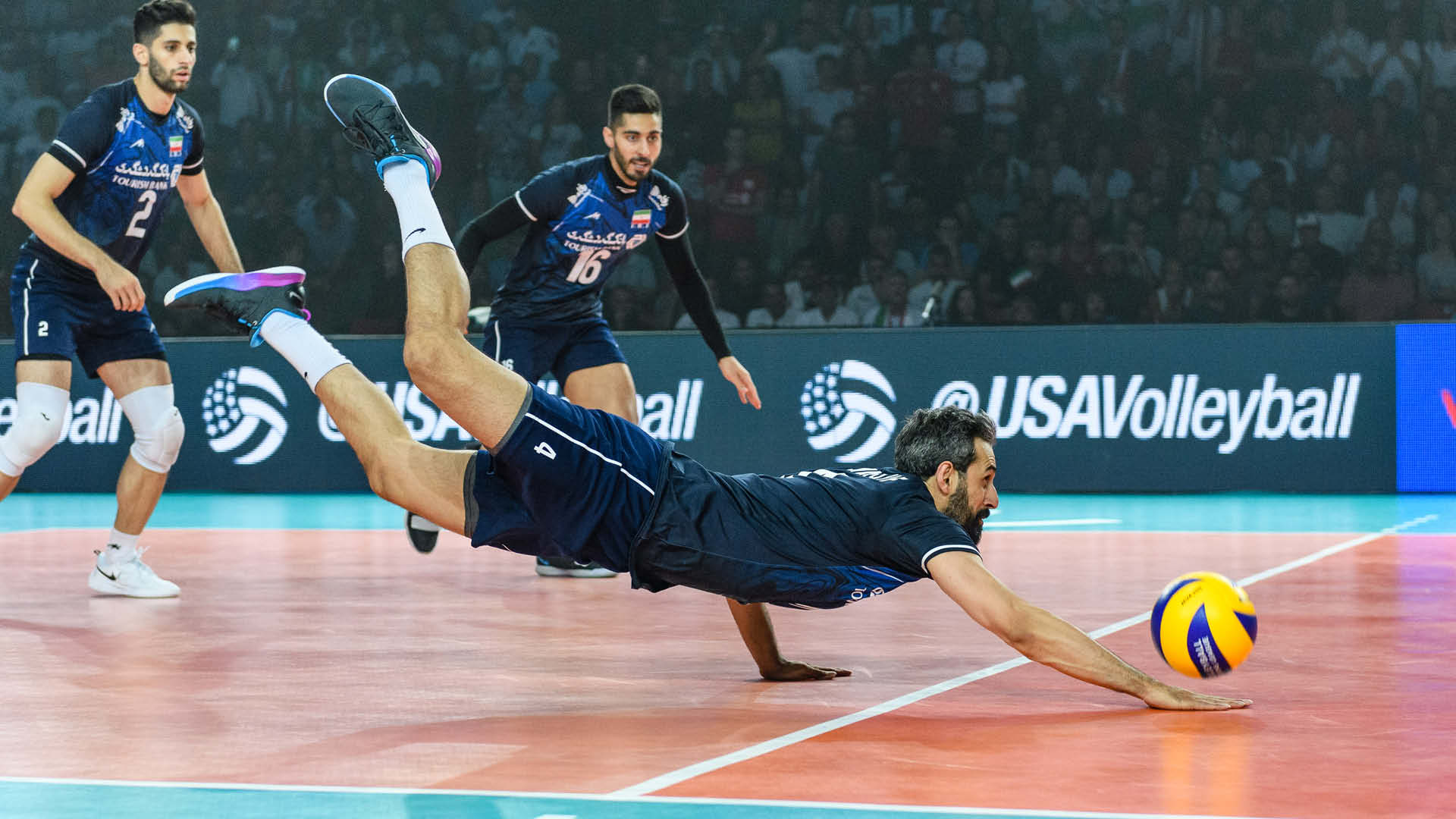 FIVB player diving